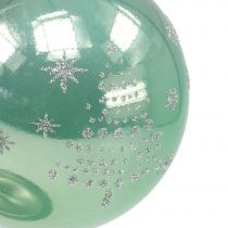 Christmas ball with glitter eucalyptus Ø8cm 6pcs