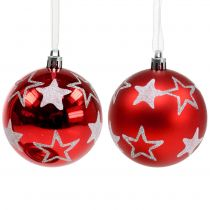 Christmas balls with stars in red 2pcs Ø8cm