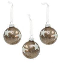 Christmas ball glass with star pattern light brown Ø6cm 6pcs