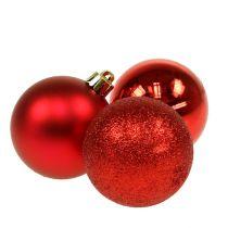 Christmas ball plastic red 6cm 10pcs