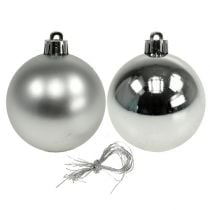 Christmas ball plastic Ø6cm silver mix 12pcs