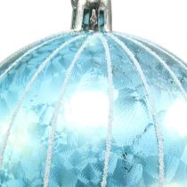 Christmas ball plastic blue-turquoise Ø8cm 2pcs