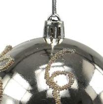 Christmas ball plastic light gold Ø8cm 2pcs