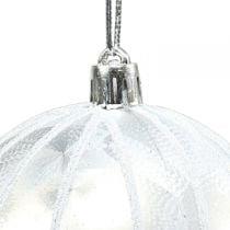 Christmas ball plastic white Ø8cm 2pcs
