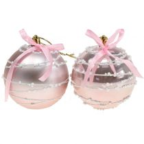 Christmas ball pink with bow Ø8cm 2pcs