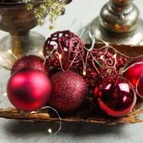 Christmas ball dark red Ø6cm 16pcs