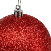 Plastic Christmas Baubles red, white Ø8cm 3pcs