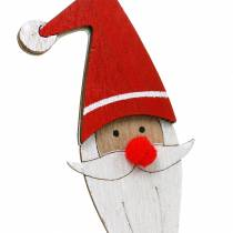 Wooden pins Santa Claus with metal spring red, white, natural 12 / 13cm L36 / 36.5cm 12pcs