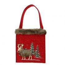 Christmas bag red with fur 15,5cm x 18cm 3pcs
