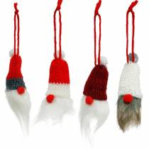 Gnome with pointed hat for hanging red, white, gray L10–12cm 12pcs
