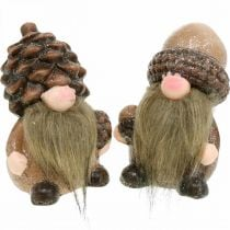 Decorative gnome ceramic cones and acorns Assorted H10.5 / 12cm 4pcs