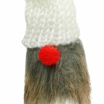 Gnome to stick with knitted hat red, white, gray 11–13cm L34–35.5cm 12pcs
