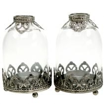 Tealight glass lantern Vintage Ø8,5cm H14cm 2pcs