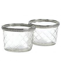 Tealight glass rhombus with metal rim Ø8cm H5,5cm 4pcs
