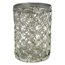 Windlight Antique Silver Ø10,5cm H14,5cm 1pc