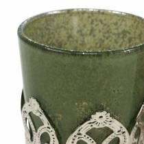 Lantern glass metal decor green lilac Ø5.5cm H5.5cm 4pcs