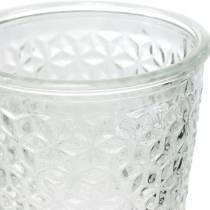 Lantern glass with base clear Ø10cm H18.5cm table decoration