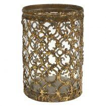 Lantern gold antique Ø8cm H11.5cm 1p