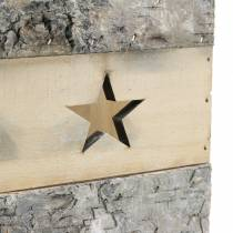 Wind light birch wood with handle 14.5cm x 14.5cm H20cm