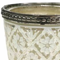 glass tealight poor man's silver floral Ø7,5cm H7,5cm 2pcs