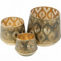 Oriental lantern set, metal lantern, golden candle decoration, rustic Ø25 / 19 / 14cm H23.5 / 17 / 12.5cm