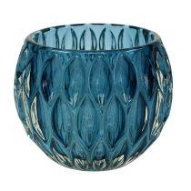 Glass Lantern Dark Blue Ø11,5cm H9cm