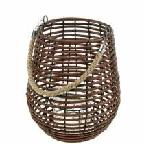 Decorative lantern, candle decoration with handle, lantern in the basket Ø23cm H27cm