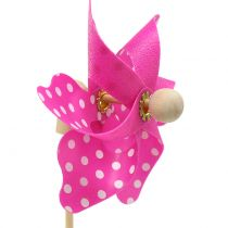 Decorative windmill with dots Pink Ø8cm 12pcs