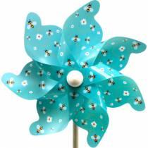 Pinwheel bees turquoise Ø31cm wind chimes windmill garden decoration