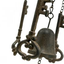 Wind chime key and bell cast iron H78cm