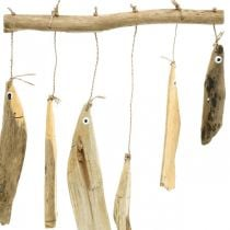 Maritime fish decoration, driftwood wind chimes, wood decoration L50cm W30cm