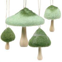 mushroom wood / felt green Ø5cm-Ø10cm H9cm 8pcs