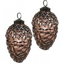 Cones to hang, tree decorations, real glass, autumn decorations, antique optics Ø7cm H11.5cm 6pcs