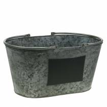 Planter zinc tub with handles oval gray H20cm