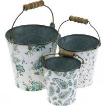Spring decoration, metal bucket, plant bucket flower pattern, metal decoration H15 / 11 / 9.5cm set of 3