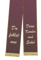 Mourning ribbon printed 125mm x 75cm aubergine