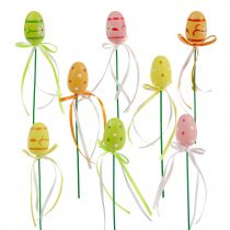 Plug eggs with ribbon assorted 4cm 16pcs