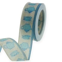 Decorative ribbon with wire Blue 40mm 20m