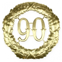 Anniversary number 90 in gold Ø40cm