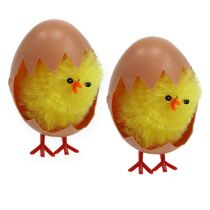 Chenille chick 6,5cm in egg yellow 4pcs