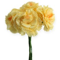 Artificial Deco Carnation Yellow 6pcs