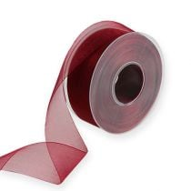 Organza ribbon in Bordeaux 40mm 50m