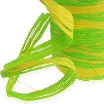 Raffia Band Bicolor Green-Yellow 200m