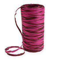 Raffia ribbon bicolor pink-brown 200m