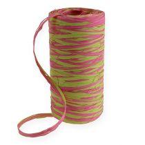 Raffia Band Bicolor Apple Green-Pink 200m