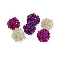 Rattan ball lilac, purple, bleached 72pcs