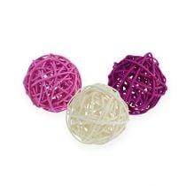 Rattan ball lilac, purple, bleached Ø4,5cm 30pcs