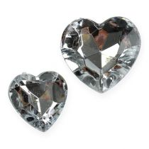 Decoration to control acrylic hearts silver 2cm - 3cm 120pcs