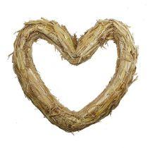 Straw base heart 33x34cm