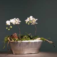 Decorative pot oval silver 40cm x 13cm H13cm